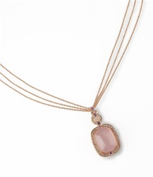 Colored Stone Necklace Pink Quartz