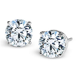4-prong Round Brilliant Cut Diamond Earrings