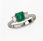Colored Stone Ring Emerald and Diamond