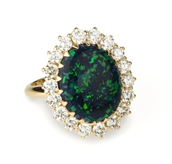 Colored Stone Ring Black Opal