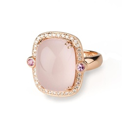 Colored Stone Ring Pink Quartz