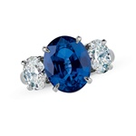 Colored Stone Ring Sapphire and Diamond